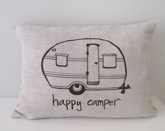 Pillow Cover - Happy Camper Vintage Trailer - 12 x 16 inches by Sweetnature Designs - Choose your fabric and ink color - Accent Pillow