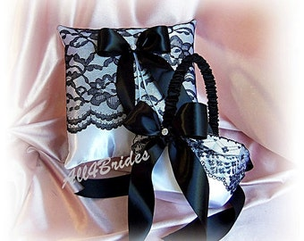 Black and white lace wedding ring pillow and flower girl basket -  black lace ring bearer pillow and basket