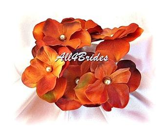 Burnt orange hydrangeas hair pins, Fall weddings bridal or bridesmaids hair accessories