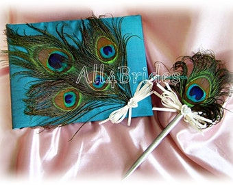 Teal peacock weddings guest book and pen set, peacock feathers guest book
