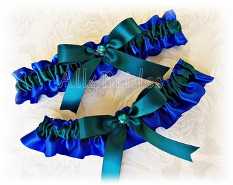 Royal blue and teal wedding bridal garter set, satin bridal or prom garters.