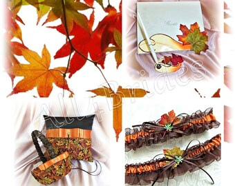 Fall leaves wedding basket, pillow, guest book and bridal leg garter set, burnt orange and chocolate brown