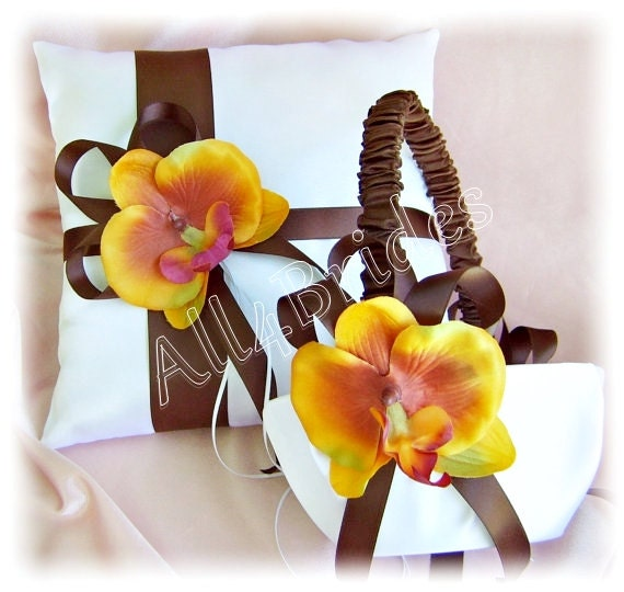 Fall wedding ring bearer pillow and flower girl basket, chocolate brown ribbon and orchids.