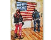 Jasper Johns American Flag watercolor Museum Art MOMA Painting Museum Spectators red white blue by Gwen Meyerson