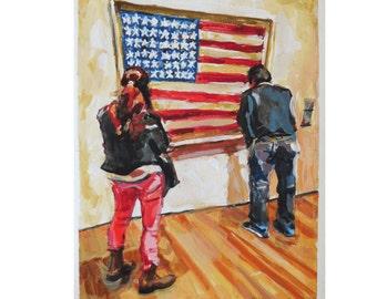 Jasper Johns American Flag watercolor Museum Art MOMA Modern Art Patriotic USA Painting Museum Spectators red white blue by Gwen Meyerson