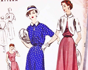 1950s Dress Pattern Vogue Pattern Misses size 16 Bust 34 UNCUT Womens Dress with Bolero Jacket Vintage Sewing Pattern