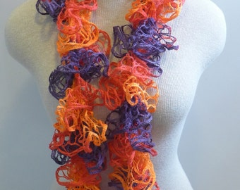 SALE Autumn Gift / Womens Ruffle Scarf  / Hand Knitted / Boho Lacy neckwarmer / Orange purple red / Ready to ship