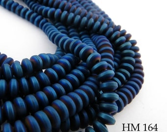 4mm Dark Blue with Purple Higlights Matte Hematite Small Rondelle Beads, Navy Blue Finish 4mm x 2mm (HM 164) BlueEchoBeads