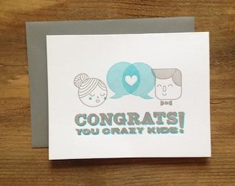 Letterpress Wedding Card - Congrats You Crazy Kids