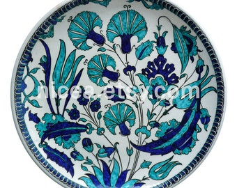 Iznik Pottery Dish with cobalt and turquoise tulips and carnations-Handmade-Home Decor