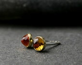 4mm citrine bezel set earrings 18 karat yellow gold and sterling silver