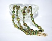 Handmade Peridot and Ruby Colored Glass Beaded Eyeglass Chain with Gold Accent Beads