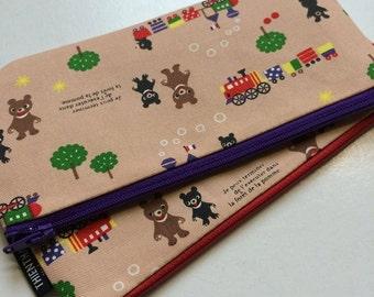 NEW LOWER PRICE - long zipper pouch - pen pouch - ready to ship - kawaii