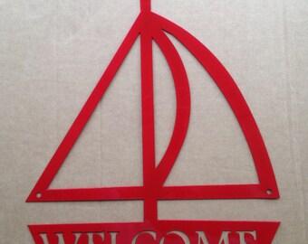 Metal Art Sailboat Welcome Metal Wall Art (F0)