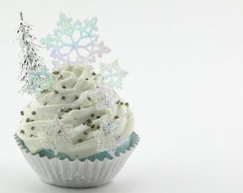Snowflake Fake Cupcake with Metallic Tree & Silver Liner Christmas Home Decor Holiday Cupcake Photo Prop Secret Santa Gift Stocking Stuffer
