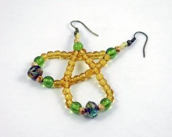 Green Topaz Vintage Gold Long Beaded Earrings