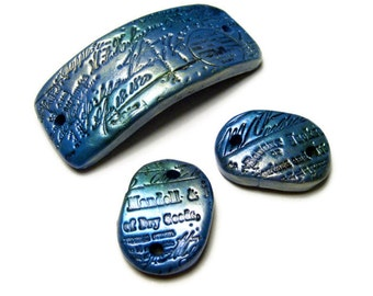 """50% OFF SALE Embossed Calligraphy Set Three DIY Bead Connectors Handmade Polymer Clay Rectangle Oval Pearl-Ex 2 5/8"""", 1 1/8"""" Jewelry Supply"""