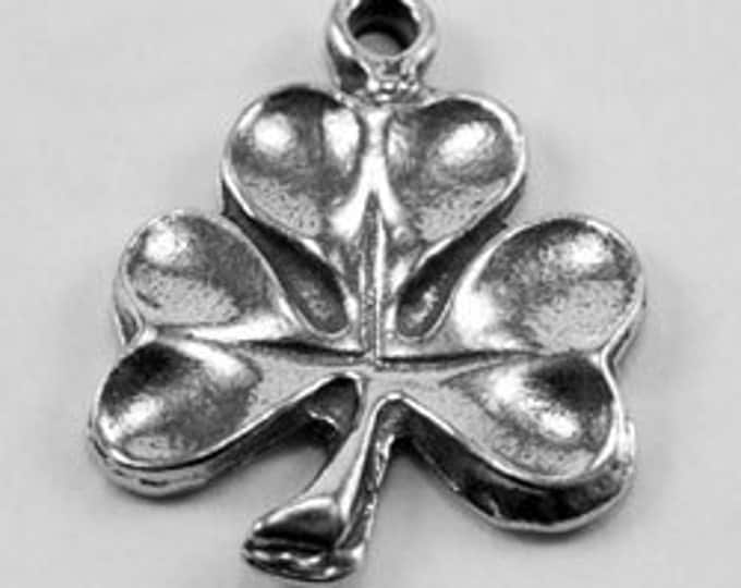 X2 small shamrock, 1 bail, necklace charm, earrings, Australian Pewter
