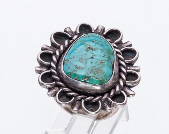 Navajo Pawn Turquoise Ring - 60s Royston Mine & Sterling -  sz 4 1/2