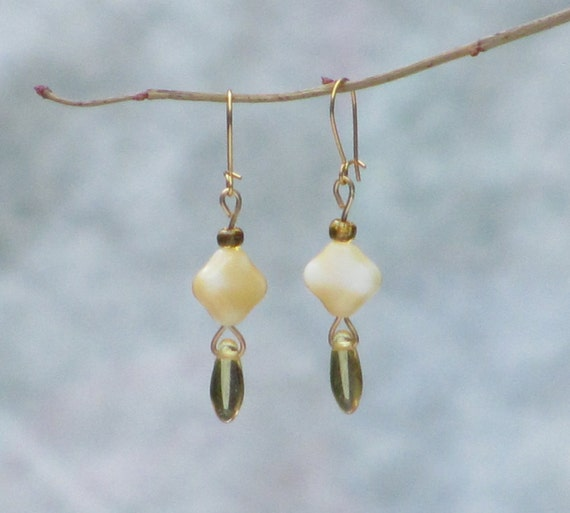 Cream and Amber Colored Glass Drop Earrings