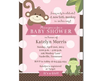 Monkey and Frog Baby Shower Invitations