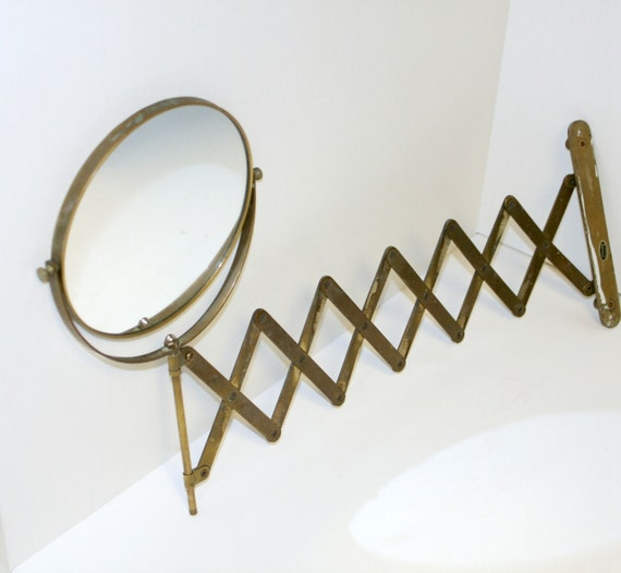 Vintage Retractable Mirror Gatco Wall Mount Brass Bathroom – Brass Bathroom Mirror