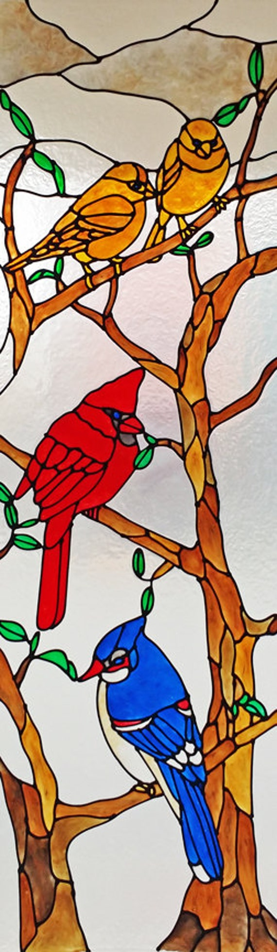 Birds in a tree faux stained glass window film for Make your own stained glass window film