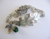 Oak Leaf Bracelet, Silver Leaf Bracelet, Leaf Jewelry, Oak Jewelry, Acorn Jewelry, Handmade, Cuff Bracelet, Woodland, Chain Bracelet