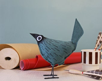 Wool Felt Pip Bird - Comet Blue