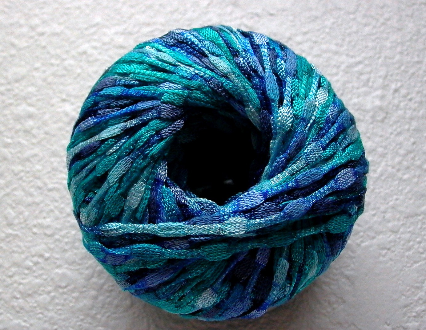 Ribbon Yarn : ribbon yarn . water bubbles . 1 skein ice brand by KnotOriginal