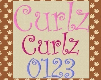 Curlz Machine Embroidery Font Alphabet in 6 Sizes