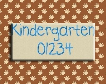 Kindergarten Embroidery Fonts in 3 Sizes