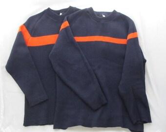 Matching Vintage Orange and Navy Blue Ski Sweaters