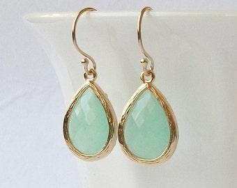 Pastel Mint Green Crystal Drop Earrings