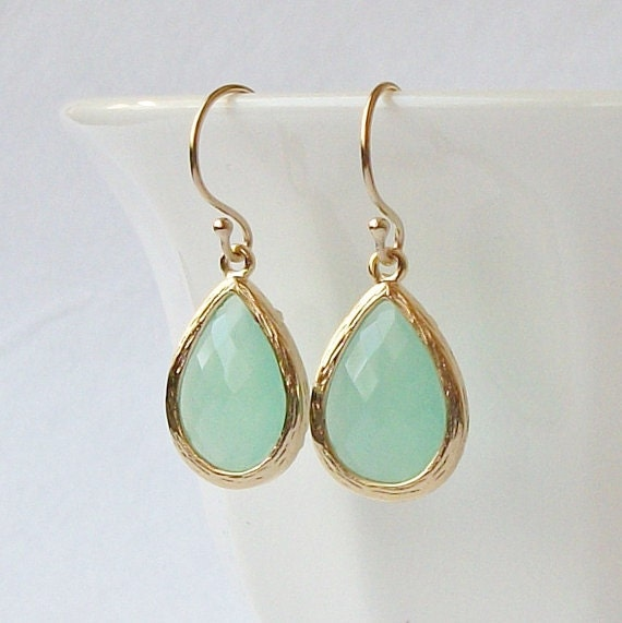Pastel Mint Green Crystal Drop Earrings