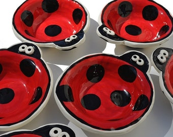 Handmade Ladybug Pottery Bowl