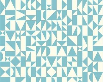 Birch Organic Fabric, Rio Geo, Pool, Ipanema, by the yard