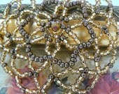 Gorgeous beaded kippah in shades of gold glass beads. Yarmulke for women.