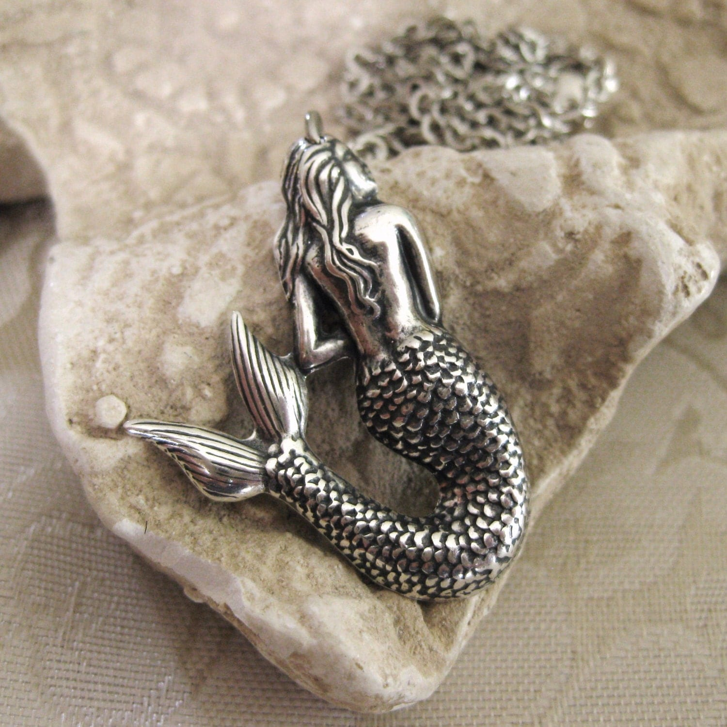 Silver Mermaid Necklace Old Style Necklace Mermaid Jewelry