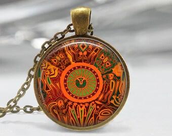 Mexican Art Glass Pendant,Art Deco Pendant, Art Charm, Art deco Necklace, Art Pendant Jewelry