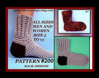 Crochet Socks Pattern - For Men or Women, Sizes: women size 5 and up, men up to size 13., #200