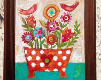 Original Folk Art Birds Whimsical Floral