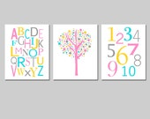 Kids Wall Art Nursery Art Trio - Set of Three 8x10 Prints - Modern Alphabet, Numbers, Tree Dot - CHOOSE YOUR COLORS