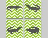 Chevron Alligator Boy Nursery Art Quad - Set of Four 8x10 Prints - CHOOSE YOUR COLORS - Shown in Apple Green and Gunmetal Gray