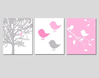 Baby Bird Trio Nursery Art  - Set of Three 8x10 Nature Prints - CHOOSE YOUR COLORS - Shown in Pink, Pale Gray, Light Pink