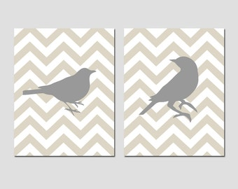 Chevron Birds - Bathroom, Nursery, Kitchen - Set of Two 11x14 Prints - CHOOSE YOUR COLORS - Shown in Yellow, Gray, Red and More