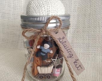Sewing Kit/ Mason Jar Sewing Kit/Rustic Western Mending Kit