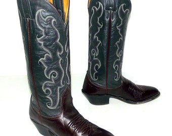 Two tone cowboy boots - burgundy wine and steel grey - Nocona brand size 4 C or womens size 5.5