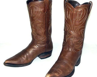Mens 10 D Cowboy Boots Dan Post Vintage Brown Leather Western Rockabilly Country