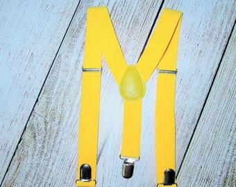 Lite Yellow Suspenders Infant Baby Toddler Boys Girls Kids Suspenders Boy Suspenders cake smash photo prop ring bearer wedding suspenders